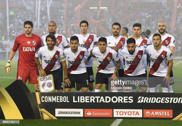 Players of River Plate pose for a photo prior a first leg match between River Plate and Lanus as part of semifinals of Copa CONMEBOL Libertadores...