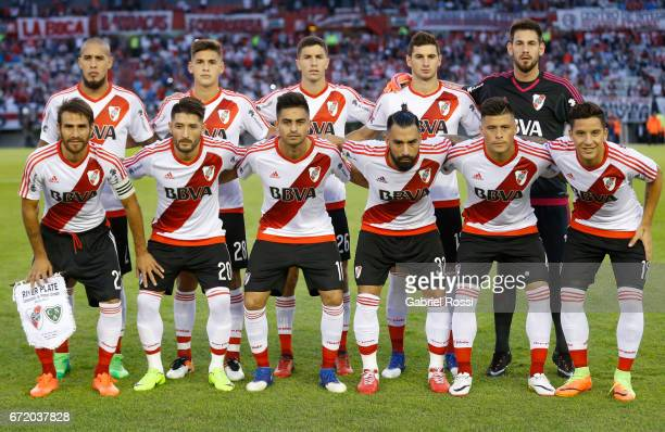 Players of River Plate pose for a photo prior a match between River Plate and Sarmiento as part of Torneo Primera Division 2016/17 at Monumental...