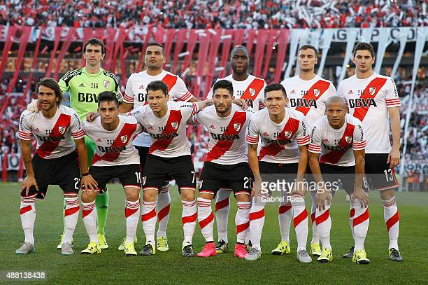 Players of River Plate pose for a photo prior the match between River Plate and Boca Juniors as part of 24th round of Torneo Primera Division 2015 at...