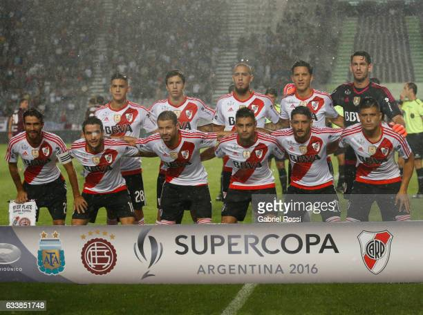 Players of River Plate pose for a photo prior to the match between River Plate and Lanus as part of Supercopa Argentina 2017 at Ciudad de La Plata...