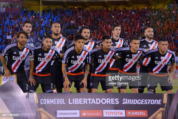 Players of River Plate pose for a team photo prior to a first leg match between Wilstermann and River Plate as part the quarter finals of Copa...