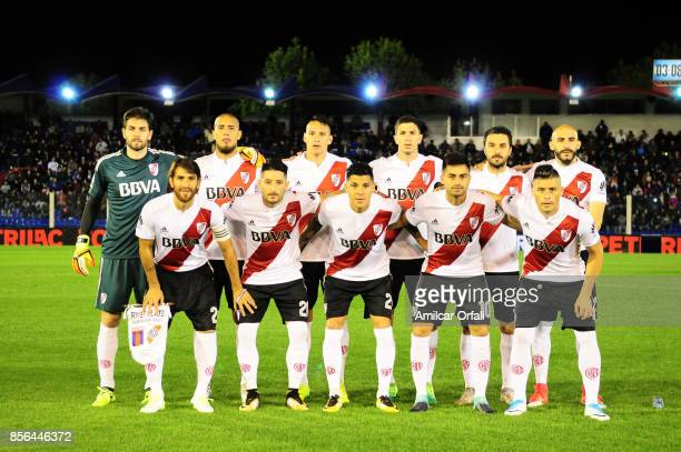 Players of River Plate pose for a team photo prior to a match between Tigre and River Plate as part of Superliga 2017/18 at Jose Dellagiovanna...