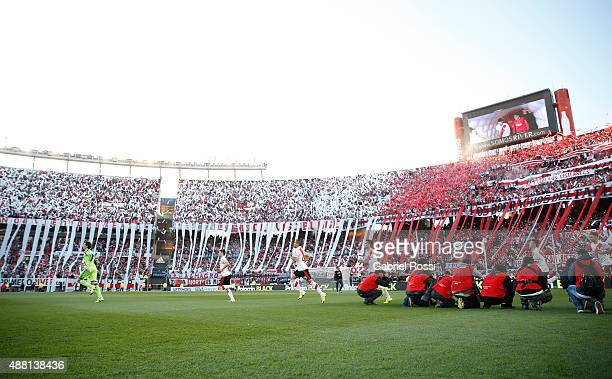 Players of River Plate walk onto the field prior the match between River Plate and Boca Juniors as part of 24th round of Torneo Primera Division 2015...