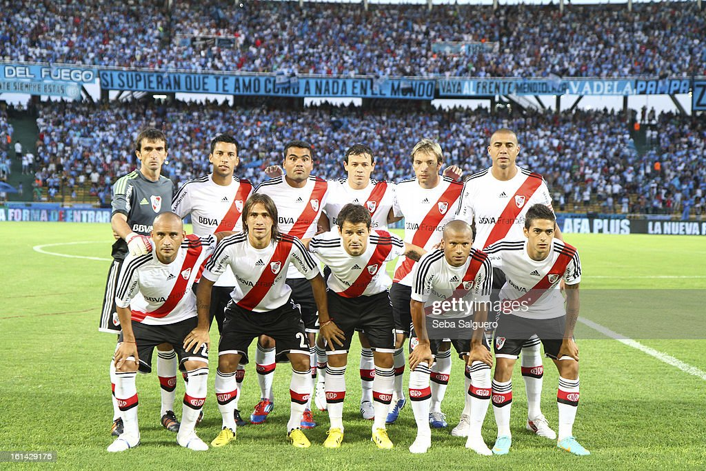 Players of River pose before the match between Belgrano and River for the Torneo Final 2013 on February 10, 2013 in Cordoba, Argentina.