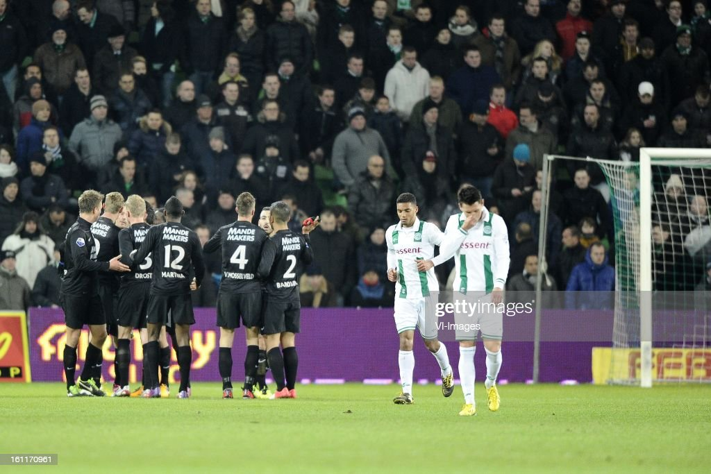 players of RKC Waalwijk, during the Dutch Eredivisie match between FC Groningen and RKC Waalwijk at the Euroborg on february 9, 2013 in Groningen, The Netherlands
