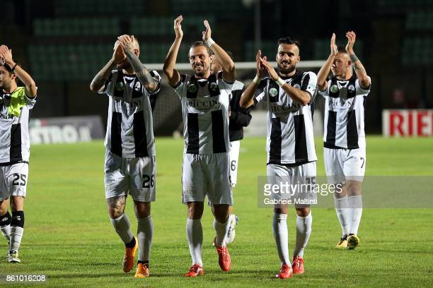 Players of Robur Siena celebrates their victory after the Serie Lega Pro match between Robur Siena and Pro Piacenza at Stadio Artemio Franchi on...