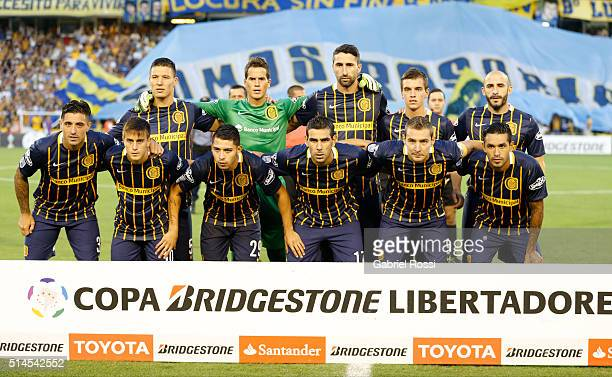 Players of Rosario Central pose for a photo prior the match between Rosario Central and River Plate as part of Copa Bridgestone Libertadores 2016 at...