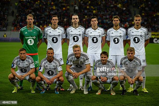 Players of Rosenborg BK pose for the team photo prior to the UEFA Europa League playoff football match between Steaua Bucarest and Rosenborg BK in...
