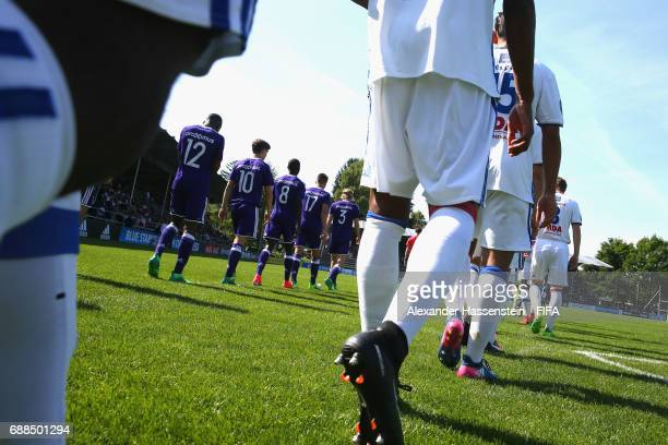Players of RSC Anderlecht and Olympique Lyon enter the field of play for the finale of the Blue Stars/FIFA Youth Cup 2017 on day two of the Blue...