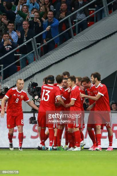 Players of Russia celebrate during the friendly match between Russia and Chile at Veb Arena in Moscow Russia on June 9 2017