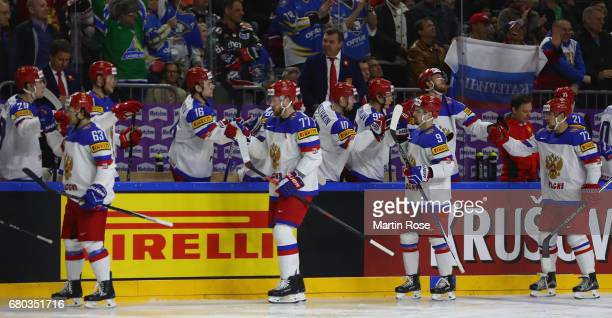 Players of Russia celebrate the first goal during the 2017 IIHF Ice Hockey World Championship game between Germany and Russia at Lanxess Arena on May...