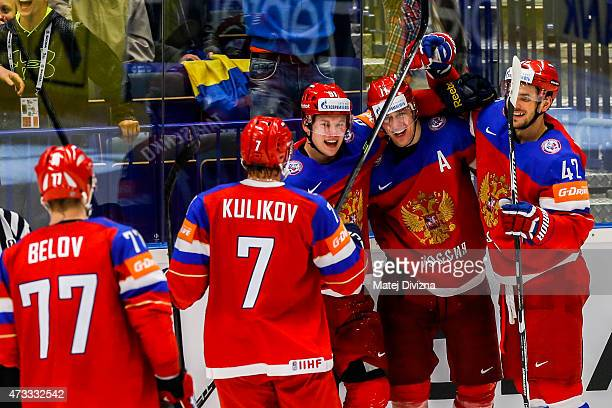 Players of Russia celebrate their goal during the IIHF World Championship quaterfinal match between Sweden and Russia at CEZ Arena on May 14 2015 in...