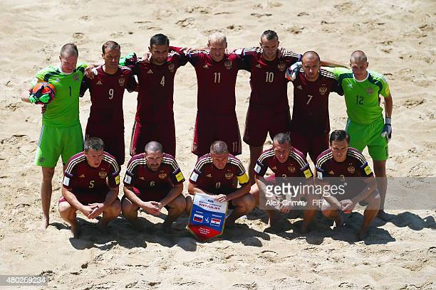 Players of Russia pose for a team photo prior to the FIFA Beach Soccer World Cup Portugal 2015 Group D match between Russia and Paraguay at Espinho...