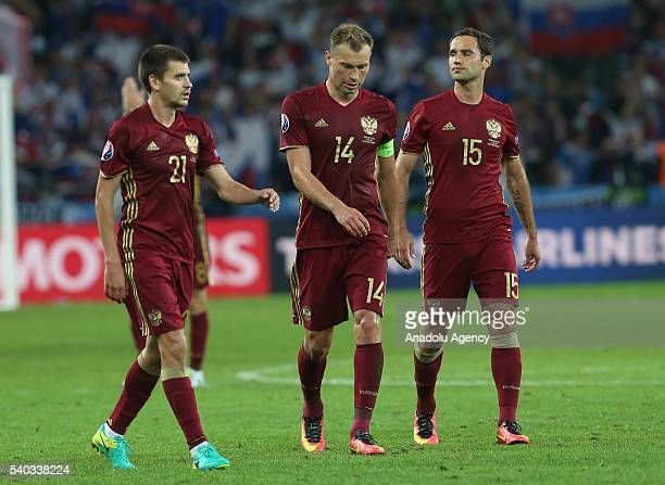 Players of Russia react after the UEFA Euro 2016 Group B match between Russia and Slovakia at the Stade Pierre Mauroy in Lille France on June 15 2016