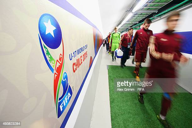 Players of Russia walk in the tunnel prior to the FIFA U17 World Cup Chile 2015 Group E match between Russia and Costa Rica at Estadio Municipal de...
