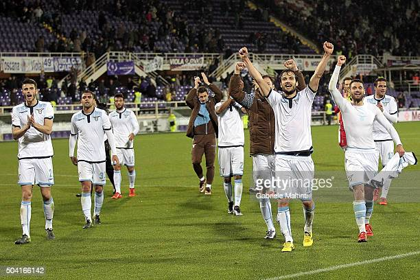 Players of S Lazio celebrates the victory after during the Serie A match between ACF Fiorentina and SS Lazio at Stadio Artemio Franchi on January 9...