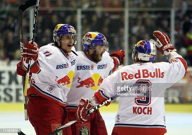 Players of Salzburg celebrate during the EHL match between EC KAC and Red Bull Salzburg at Stadthalle Klagenfurt on April 5 2011 in Klagenfurt Austria
