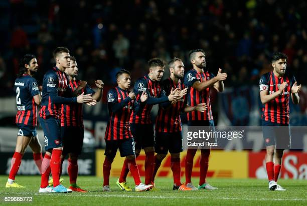 Players of San Lorenzo celebrate a goal scored by Gabriel Alejandro Gudiño of San Lorenzo during the penalty shootout after a second leg match...