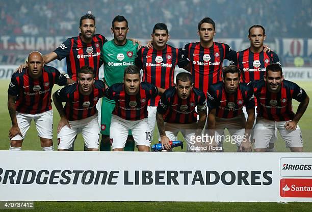 Players of San Lorenzo pose for a photo prior the match between San Lorenzo v Danubio as part of Copa Bridgestone Libertadores 2015 at Pedro Bidegain...