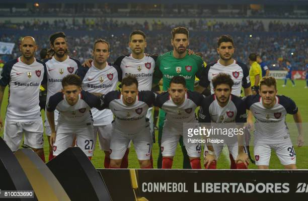Players of San Lorenzo pose for a picture prior to a first leg match between Emelec and San Lorenzo as part of round of 16 of Copa CONMEBOL...