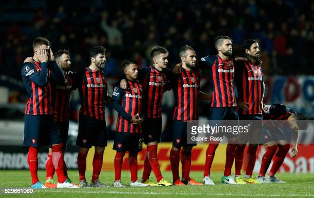 Players of San Lorenzo watch the penalty shootout after a second leg match between San Lorenzo and Emelec as part of round of 16 of Copa CONMEBOL...