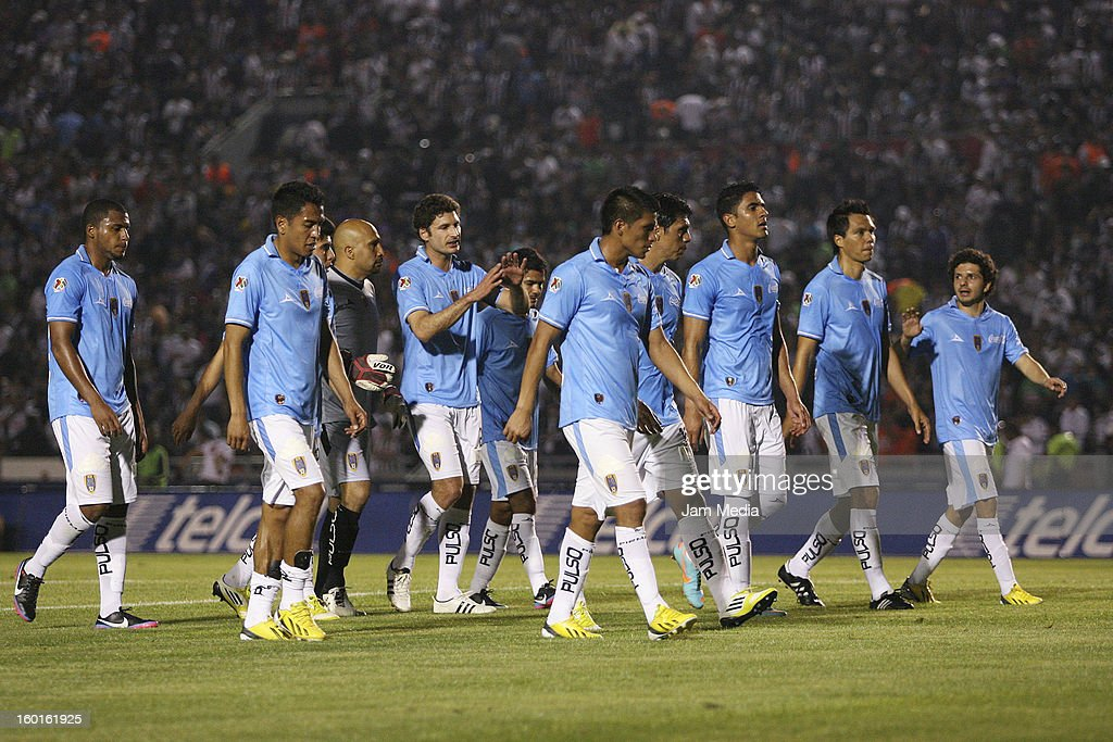 Players of San Luis walk after a match between Monterrey v San Luis as part of the Clausura 2013 Liga MX at Tecnologico Stadium on January 26, 2013 in Monterrey, Mexico.