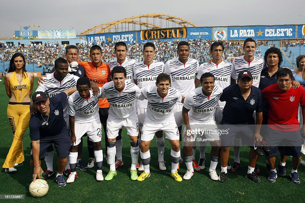 Players of San Martin pose before a match between Sporting Cristal and San Martin as part of The 2013 Torneo Descentralizado at the Alberto Gallardo Stadium on February 09, 2013 in Lima, Peru