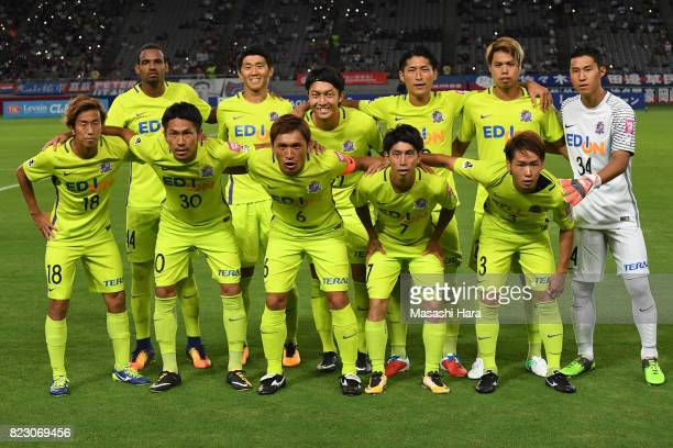 Players of Sanfrecce Hiroshima pose for photograph prior to the JLeague Levain Cup PlayOff Stage first leg match between FC Tokyo and Sanfrecce...