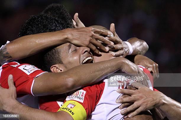 Players of Santa Fe celebrates a scored goal against Cerro Porteño during the match between Cerro Porteño and Independiente de Santa Fé as part of...