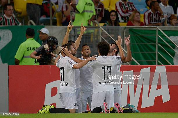 Players of Santos celebrates a scored goal by Ricardo Oliveira during the match between Fluminense and Santos as part of Brasileirao Series A 2015 at...