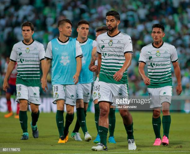 Players of Santos leave the field after the 4th round match between Santos Laguna and Veracruz as part of the Torneo Apertura 2017 Liga MX on August...