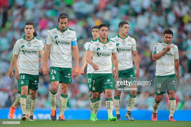 Players of Santos leave the field at the end of the first half during the 8th round match between Santos Laguna and Necaxa as part of the Torneo...