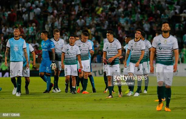 Players of Santos look dejected after the sixth round match between Santos Laguna and Chivas as part of the Torneo Apertura 2017 Liga MX at Corona...