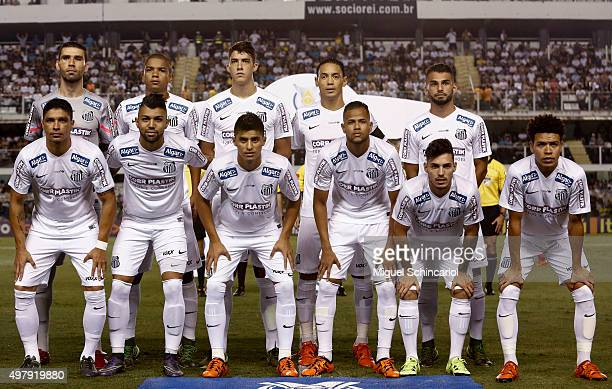 Players of Santos pose for a photo during a match between Santos v Flamengo of Brasileirao Series A 2015 at Vila Belmiro Stadium on November 19 2015...