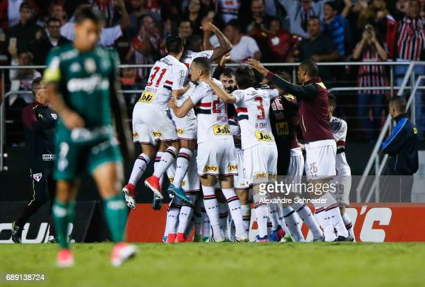 Players of Sao Paulo celebrate after scoring their first goal during the match between Sao Paulo and Palmeiras for the Brasileirao Series A 2017 at...