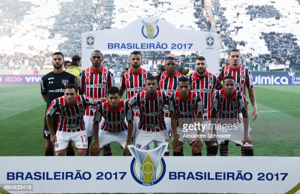 Players of Sao Paulo pose for photo before the match between Corinthians and Sao Paulo for the Brasileirao Series A 2017 at Arena Corinthians Stadium...