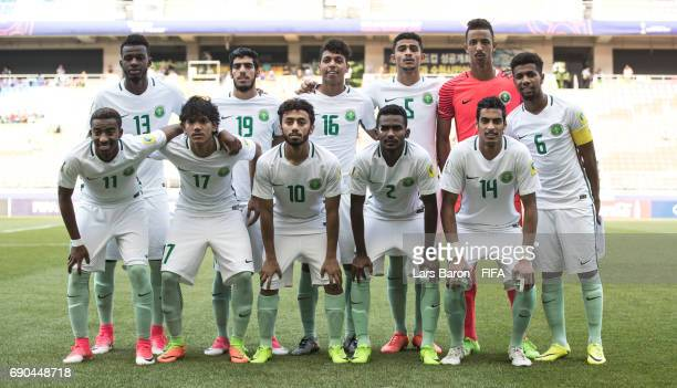 Players of Saudi Arabia pose for a picture during the FIFA U20 World Cup Korea Republic 2017 Round of 16 match between Uruguay and Saudi Arabia at...