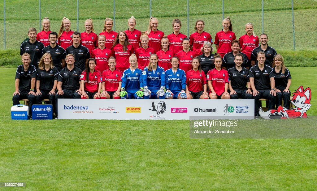 Players of SC Freiburg pose for a group photo during the Allianz Frauen Bundesliga Club Tour at Elbigenalp on August 21, 2017 in Elbigenalp, Austria.