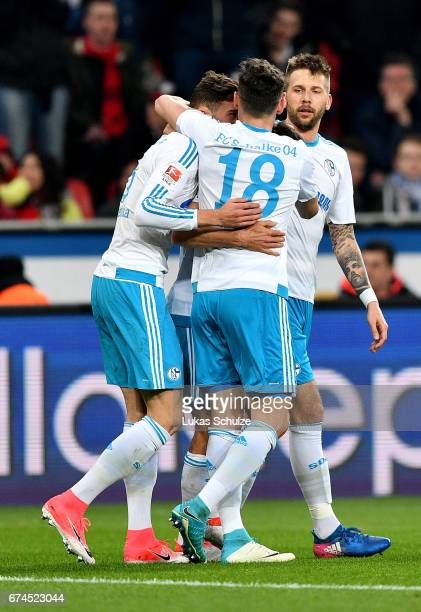 Players of Schalke celebrate their 3rd goal during the Bundesliga match between Bayer 04 Leverkusen and FC Schalke 04 at BayArena on April 28 2017 in...