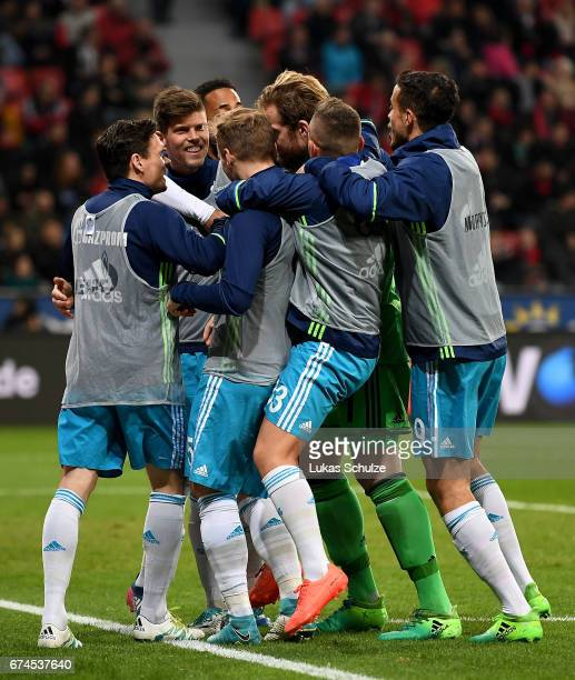 Players of Schalke celebrate their 4th goal during the Bundesliga match between Bayer 04 Leverkusen and FC Schalke 04 at BayArena on April 28 2017 in...