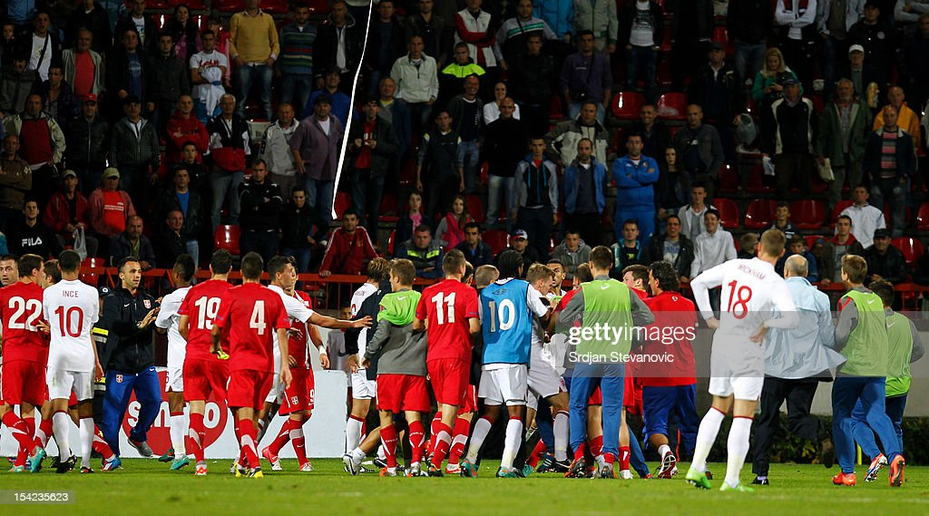 Players of Serbia and England clash after the Under 21 European Championship Play Off second leg match between Serbia U21 and England U21 at Stadium Mladost on October 16, 2012 in Krusevac, Serbia.