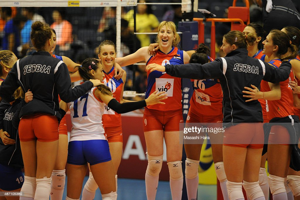 Players of Serbia celebrate the win during the match between Argentina and Serbia during the FIVB Women's Volleyball World Cup Japan 2015 at Park Arena Komaki on September 6, 2015 in Komaki, Japan.