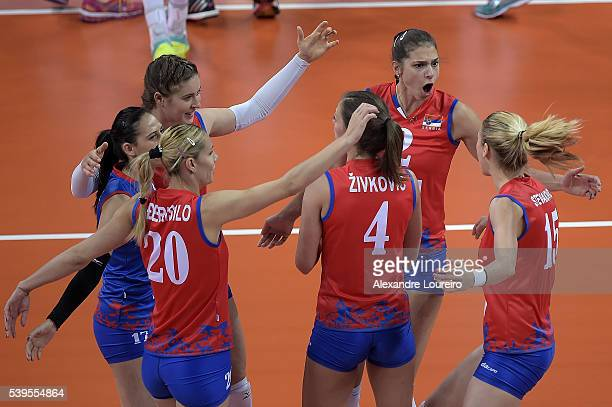 Players of Serbia celebrates a point during the match between Brazil and Serbia on day 3 the FIVB Volleyball World Grand Prix at Carioca Arena 1 on...