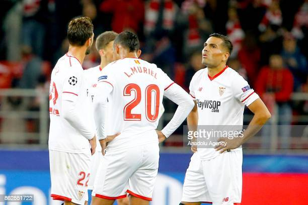 Players of Sevilla are seen dejected after the goal of Spartak Moscow during the UEFA Champions League match between Spartak Moscow and Sevilla FC at...