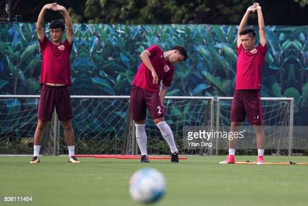 Players of Shanghai SIPG during prematch training session of the AFC Champions League 2017 Quarterfinals 1st leg between Shanghai SIPG v Guangzhou...