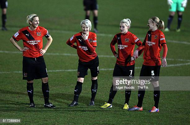 Players of Sheffield FC during the FA WSL 2 match between Sheffield FC and Durham Ladies at the Home of Football Stadium on March 23 2016 in...