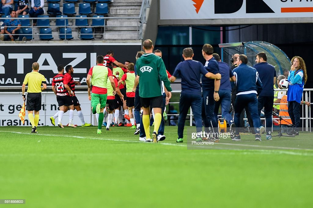 players of Shkendija are celebrating after the 01 during the Uefa Europa League match between KAA Gent and KF Shkendija In the Ghelamco Arena Gent...