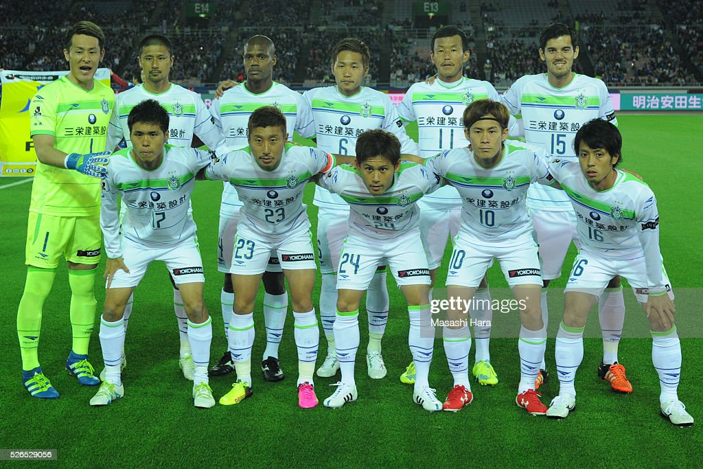 Players of Shonan Bellmare pose for photograph prior to the J.League match between Yokohama F.Marinos and Shonan Bellmare at the Nissan stadium on April 30, 2016 in Yokohama, Kanagawa, Japan.