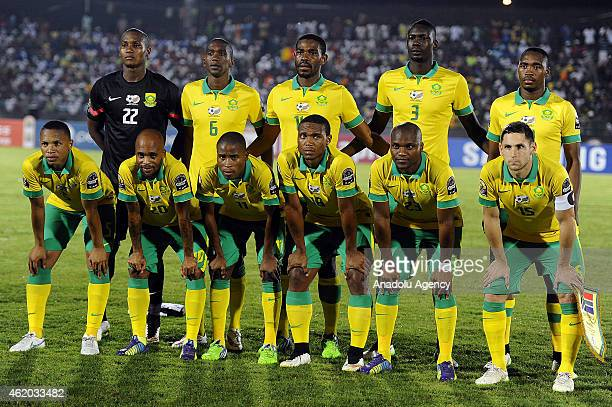 Players of South Africa pose for photo ahead of the 2015 African Cup of Nations Group C football match between South Africa and Senegal at Mongomo...