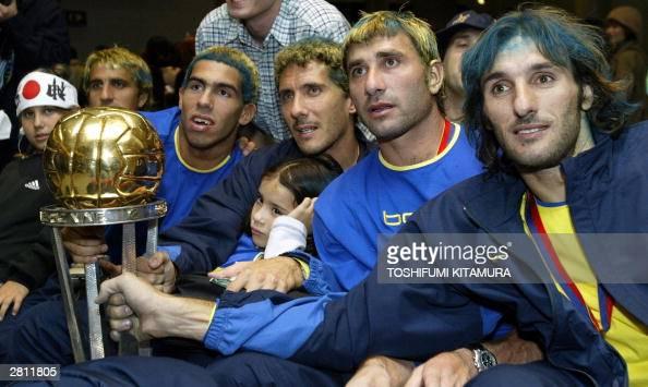 Players of South American club champion Boca Juniors of Argentine Alfredo Raul Cascini Carlos Alberto Tevez Diego Cagna Roberto Carlos Abbondanzieri...